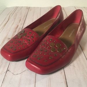 Nauralizer Red leather brass grommets flat loafers